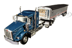 "Kenworth T800 38"" Sleeper Cab Wilson Pacesetter High Sided Grain Trailer Frederick Harvesting LLC Blue Metallic Chrome 1/64 Diecast Model DCP First Gear 60-0606"
