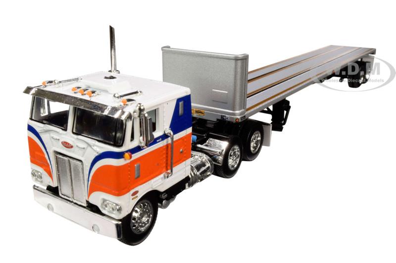 "Peterbilt 352 COE 86"" Sleeper Cab Utility Flatbed Trailer Bulkhead Orange 1/64 Diecast Model DCP First Gear 60-0715"