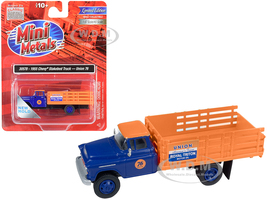 1955 Chevrolet Stakebed Truck Union 76 Blue Orange 1/87 HO Scale Model Classic Metal Works 30578