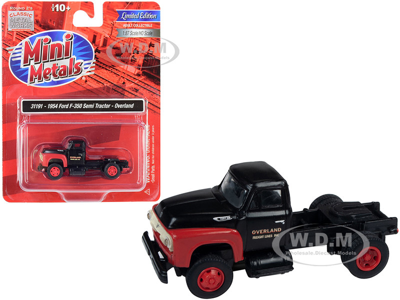 1954 Ford F-350 Semi Truck Tractor Overland Black Red 1/87 HO Scale Model Classic Metal Works 31191