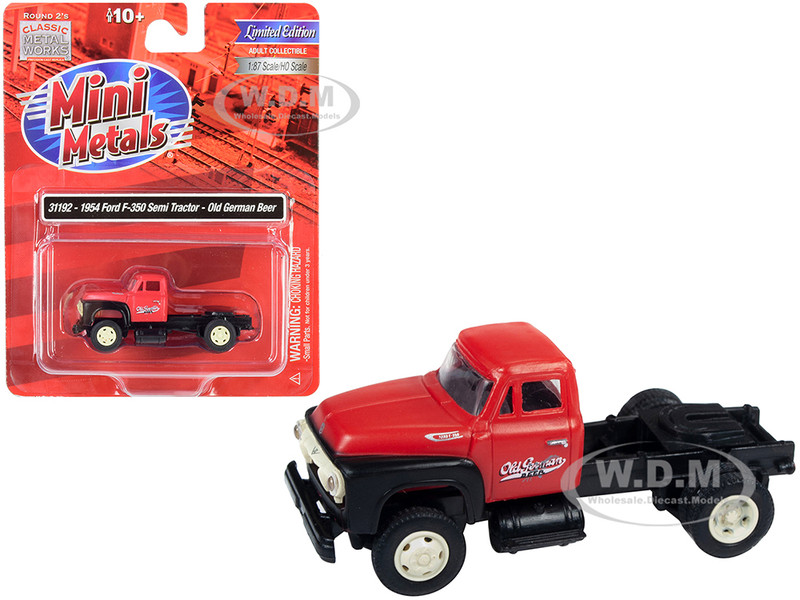 1954 Ford F-350 Semi Truck Tractor Old German Beer Red Black 1/87 HO Scale Model Classic Metal Works 31192