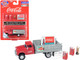 1955 Chevrolet Stakebed Truck Red Gray 1950's Two Vending Machines Hand Truck Building Sign Coca Cola 1/87 HO Scale Model Classic Metal Works 40008
