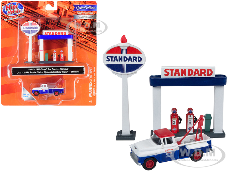 1955 Chevrolet Tow Truck Blue Orange 1950's Service Station Sign and Gas Pump Island Standard Oil 1/87 HO Scale Model Classic Metal Works 40011