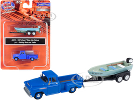 1957 Chevrolet Stepside Pickup Truck Blue Fishing Boat Trailer 1/87 HO Scale Model Car Classic Metal Works 40012