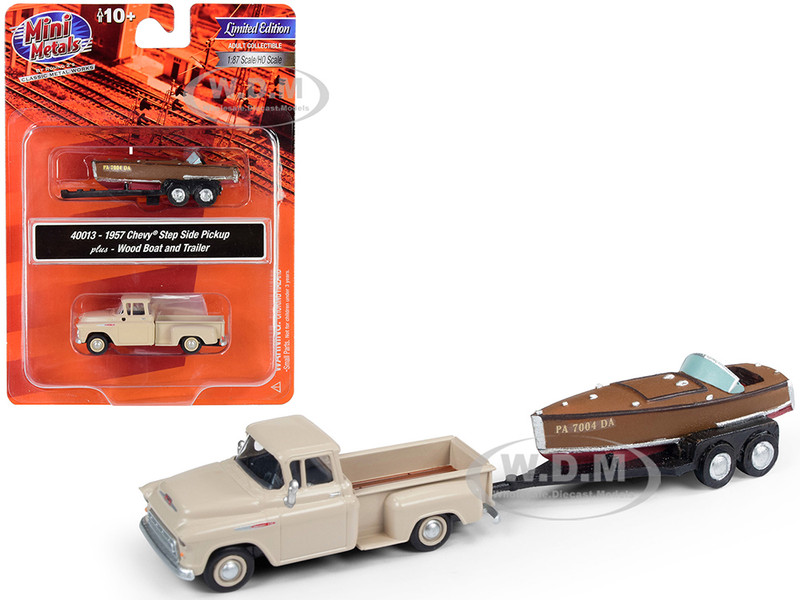 1957 Chevrolet Stepside Pickup Truck Beige Wood Boat Trailer 1/87 HO Scale Model Car Classic Metal Works 40013