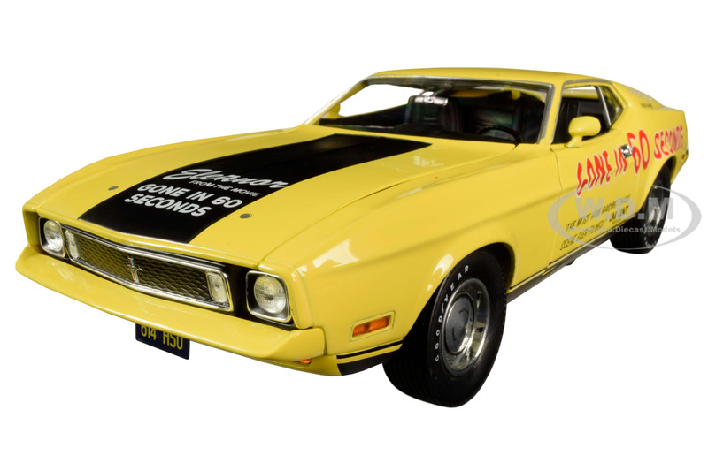 1973 Ford Mustang Mach 1 Custom Movie Star Eleanor Yellow Black Stripe Post-Filming Tribute Edition Gone in 60 Seconds 1974 Movie 1/18 Diecast Model Car Greenlight 13548