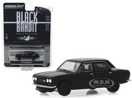 1970 Datsun 510 4-Door Sedan Black Bandit Series 22 1/64 Diecast Model Car Greenlight 28010 A