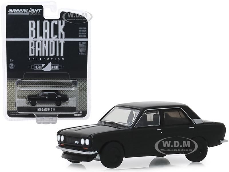 1970 Datsun 510 4-Door Sedan Black Bandit Series 22 1/64 Diecast Model Car Greenlight 28010 A