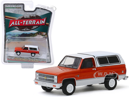 1981 Chevrolet K5 Blazer Burnt Orange Metallic Frost White All Terrain Series 9 1/64 Diecast Model Car Greenlight 35150 B