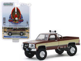 1982 GMC K-2500 Pickup Truck Brown Metallic Gold Stripes Fall Guy Stuntman Association The Fall Guy 1981 1986 TV Series Hollywood Series Release 26 1/64 Diecast Model Car Greenlight 44860 F