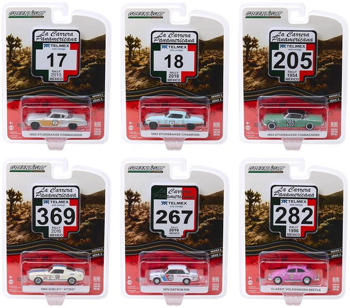 La Carrera Panamericana Series 2 Set 6 pieces 1/64 Diecast Model Cars Greenlight 13260