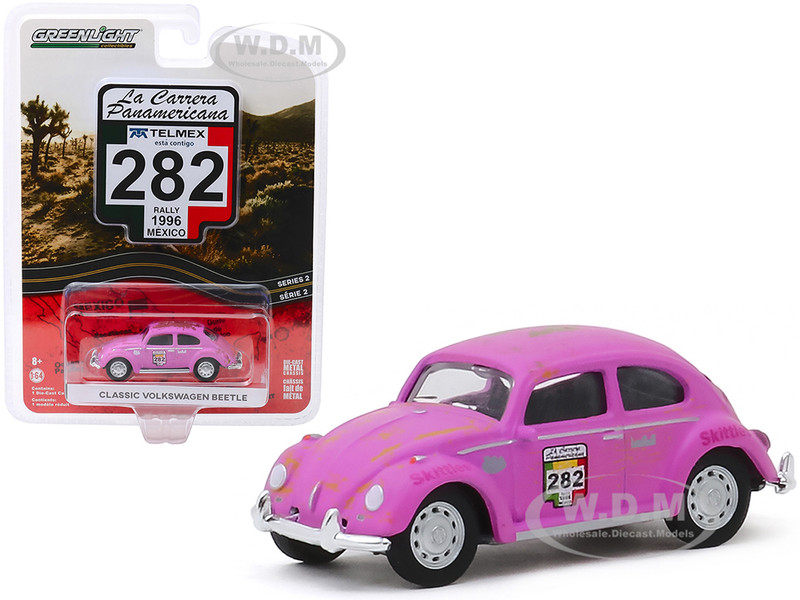 Classic Volkswagen Beetle #282 Skittles Rally Mexico 1996 La Carrera Panamericana Series 2 1/64 Diecast Model Car Greenlight 13260 F