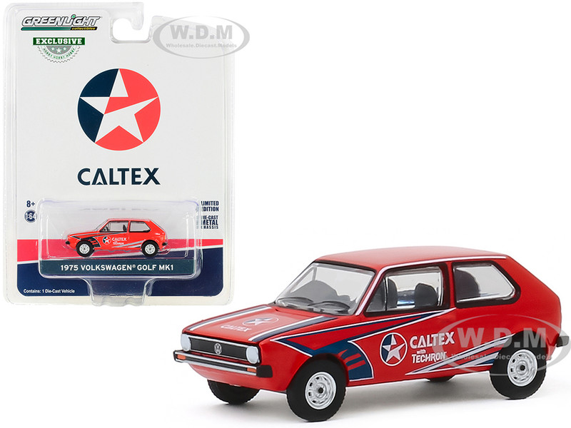 1975 Volkswagen Golf Mk1 Red Caltex with Techron Hobby Exclusive 1/64 Diecast Model Car Greenlight 30132