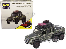Mercedes Benz G63 AMG 6x6 Pickup Truck Desert Version Accessories Camouflage 1/64 Diecast Model Car Era Car MB196X6SP08