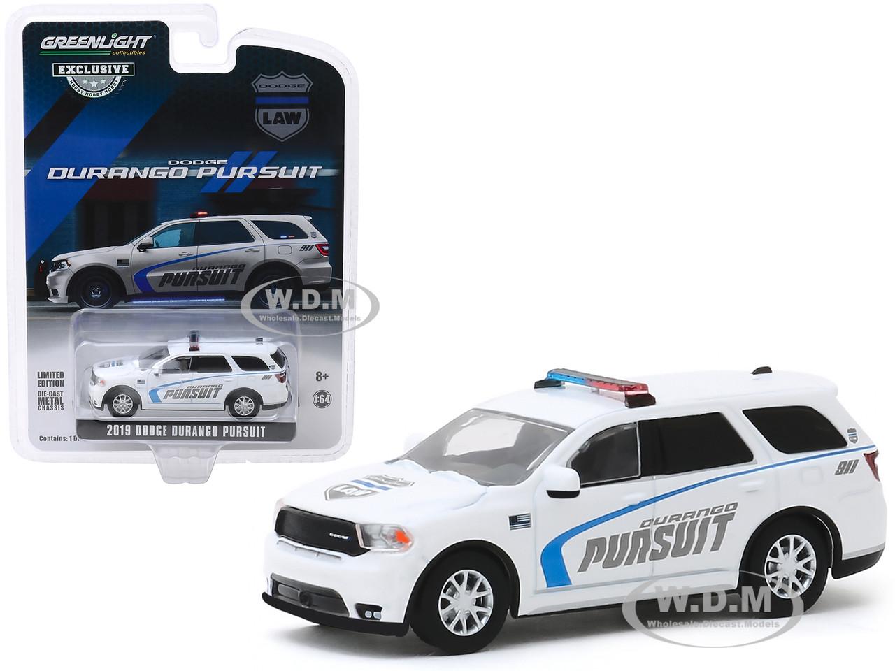 2019 Dodge Durango Pursuit Police Suv White Hobby Exclusive 1 64 Diecast Model Car Greenlight 30119