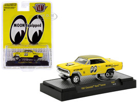 1967 Chevrolet Nova Gasser Yellow Moon Equipped Hobby Exclusive Limited Edition 3600 pieces Worldwide 1/64 Diecast Model Car M2 Machines 31600-GS01