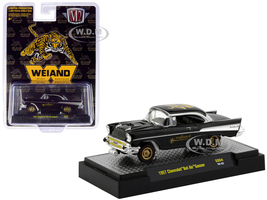 1957 Chevrolet Bel Air Gasser Black Weiand Hobby Exclusive Limited Edition 3600 pieces Worldwide 1/64 Diecast Model Car M2 Machines 31600-GS04