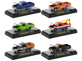 Auto Thentics 6 piece Set 1970's Datsun Trucks DISPLAY CASES 1/64 Diecast Model Cars M2 Machines 32500-S75