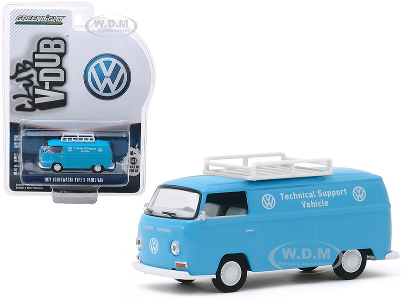 1971 Volkswagen Type 2 Panel Van Roof Rack VW Technical Support Vehicle Light Blue Club Vee V-Dub Series 10 1/64 Diecast Model Car Greenlight 29980 A