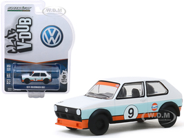 1974 Volkswagen Golf #9 Gulf Oil White Light Blue Orange Stripes Club Vee V-Dub Series 10 1/64 Diecast Model Car Greenlight 29980 C