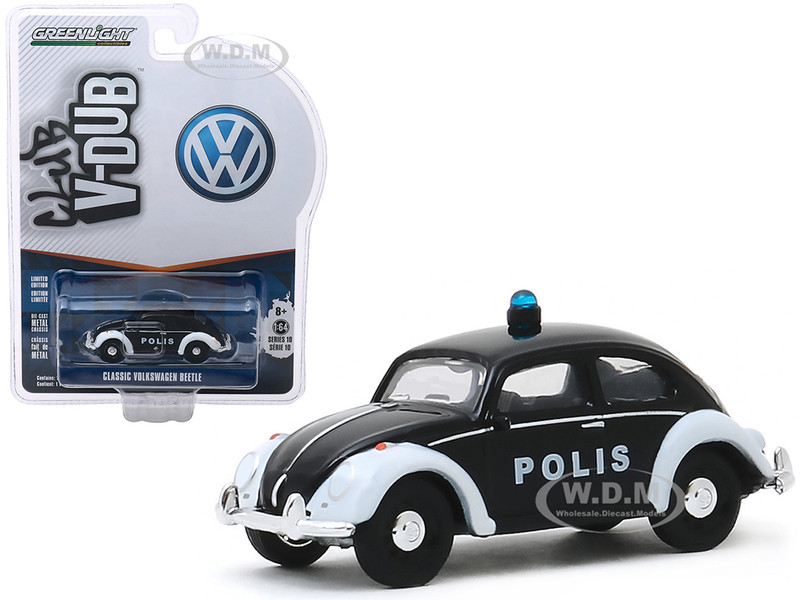 Classic Volkswagen Beetle Police Car Polis Trollveggen Norway Black Club Vee V-Dub Series 10 1/64 Diecast Model Car Greenlight 29980 F