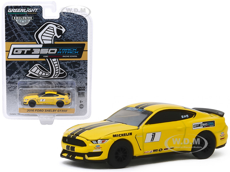 2016 Ford Mustang Shelby GT350 #1 Triple Yellow Black Stripes Ford Performance Racing School GT350 Track Attack Hobby Exclusive 1/64 Diecast Model Car Greenlight 30134