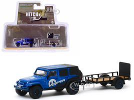 2012 Jeep Wrangler Unlimited MOPAR Off-Road Edition Dark Blue Black Utility Trailer Hitch & Tow Series 19 1/64 Diecast Model Car Greenlight 32190 B