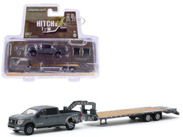 2018 Nissan Titan XD Pro-4X Pickup Truck Dark Gray Metallic Gooseneck Trailer Hitch & Tow Series 19 1/64 Diecast Model Car Greenlight 32190 C