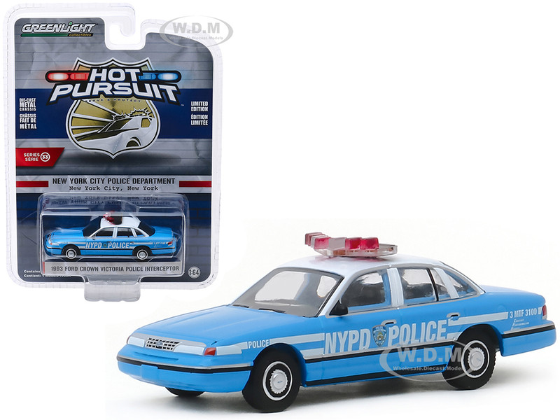 1993 Ford Crown Victoria Police Interceptor New York City Police Dept NYPD New York City New York Light Blue White Top Hot Pursuit Series 33 1/64 Diecast Model Car Greenlight 42900 D
