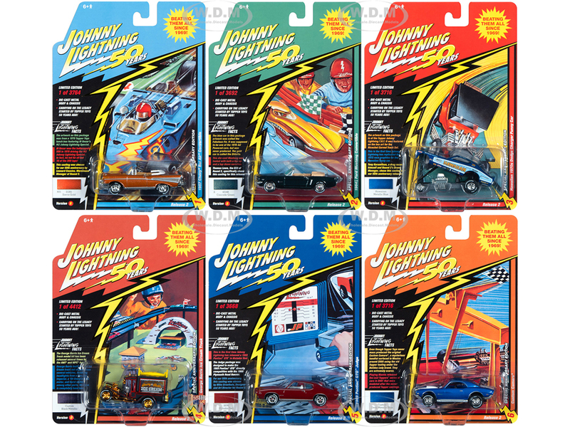 Classic Gold 2019 Release 2 Set B of 6 Cars Johnny Lightning 50th Anniversary 1/64 Diecast Model Cars Johnny Lightning JLCG020 B