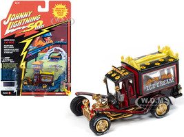 George Barris Ice Cream Truck Daisy Bell Custom Black Metallic Limited Edition 4412 pieces Worldwide Johnny Lightning 50th Anniversary 1/64 Diecast Model Car Johnny Lightning JLCG020 JLSP075 B