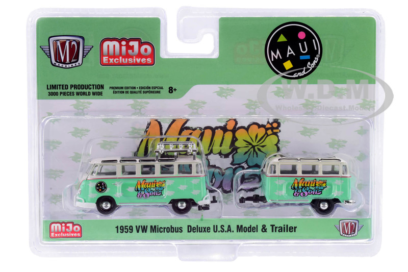 1959 Volkswagen Microbus Deluxe USA Roof Rack Travel Trailer Light Green Cream Maui and Sons Limited Edition 3000 pieces Worldwide 1/64 Diecast Model Car M2 Machines 38100-MJS02