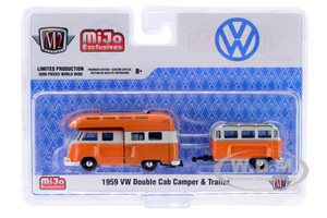 1959 Volkswagen Double Cab Camper Travel Trailer Orange Cream Limited Edition 3000 pieces Worldwide 1/64 Diecast Model Car M2 Machines 38100-MJS03