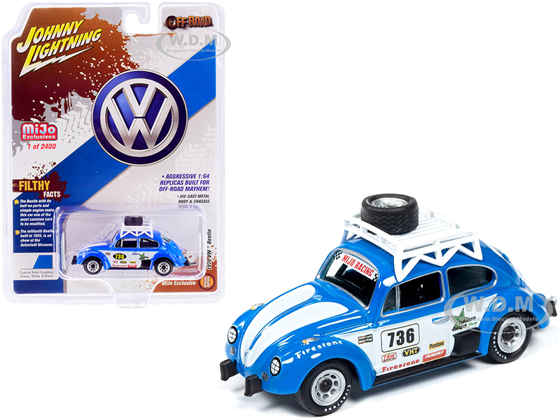 1970 Volkswagen Beetle Racing #736 Roof Rack Spare Tire Limited Edition 2400 pieces Worldwide 1/64 Diecast Model Car Johnny Lightning JLCP7304