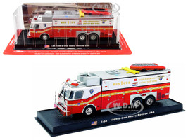 1999 E-One Heavy Rescue Fire Engine Fire Department City of New York FDNY 1/64 Diecast Model Amercom ACGB04