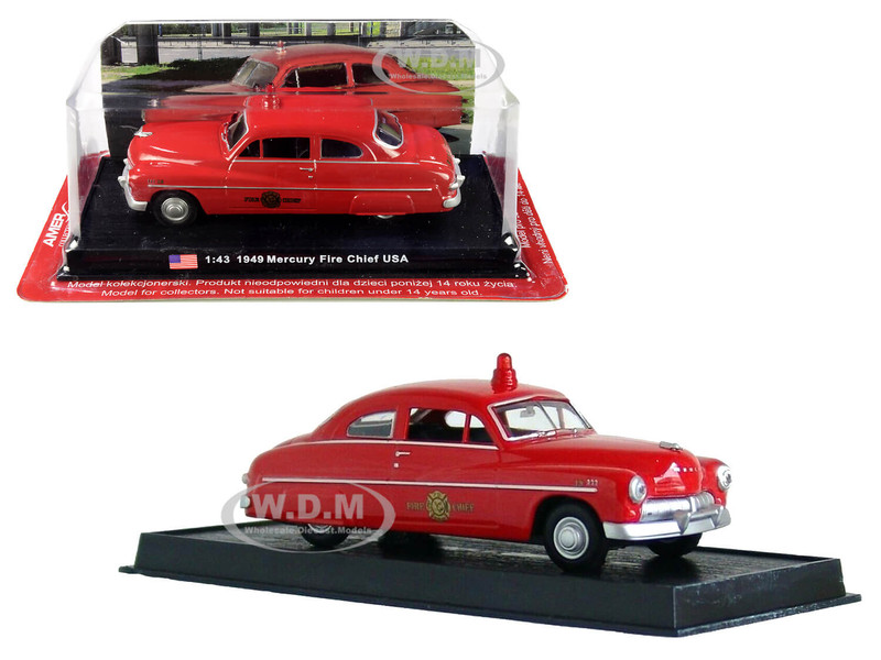 1949 Mercury Coupe Fire Chief 1/43 Diecast Model Car Amercom ACSF48