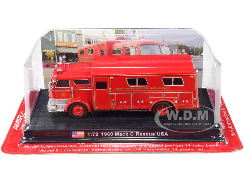 1960 Mack C Heavy Fire Rescue Truck West Hempstead Fire Department West Hempstead New York 1/72 Diecast Model Amercom ACSF49