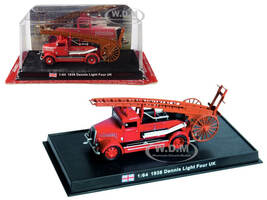 1938 Dennis Light Four Fire Engine Oakham Uppingham Districts Joint Fire Brigade Rutland United Kingdom 1/64 Diecast Model Amercom ACSF53