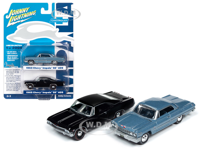 1963 Chevrolet Impala SS Hardtop Silver Blue Metallic 1965 Chevrolet Impala SS Hardtop Black 2 piece Set Limited Edition 2004 pieces Worldwide 1/64 Diecast Model Cars Johnny Lightning JLSP080