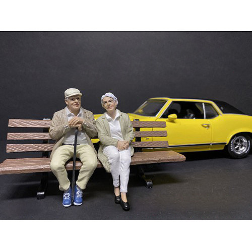 Sitting Old Couple 2 piece Figurine Set for 1/18 Scale Models by American Diorama 38234 38235