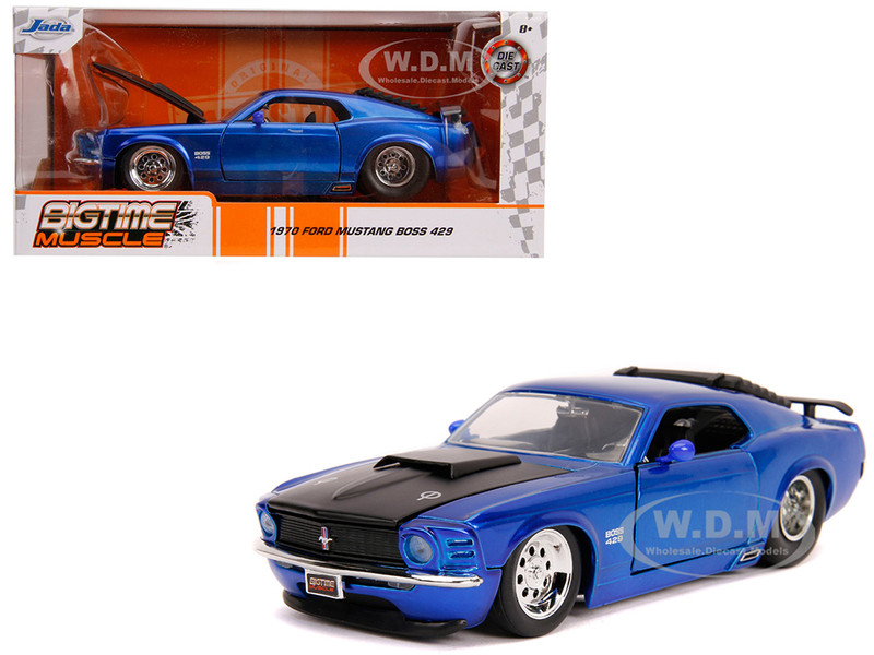 1970 Ford Mustang Boss 429 Candy Blue Black Hood Bigtime Muscle 1/24 Diecast Model Car Jada 31647