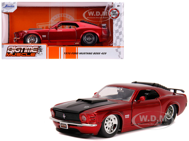 1970 Ford Mustang Boss 429 Candy Red Black Hood Bigtime Muscle 1/24 Diecast Model Car Jada 31648