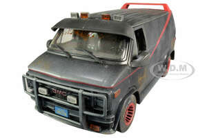 1983 GMC Vandura Black Weathered Version Bullet Holes The A-Team 1983 1987 TV Series 1/18 Diecast Model Car Greenlight 13567