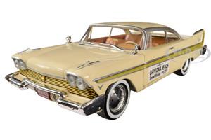 1957 Plymouth Fury Cream Gold Stripes Daytona Beach Speed Weeks February 3-17 1957 1/24 Diecast Model Car Greenlight 18257