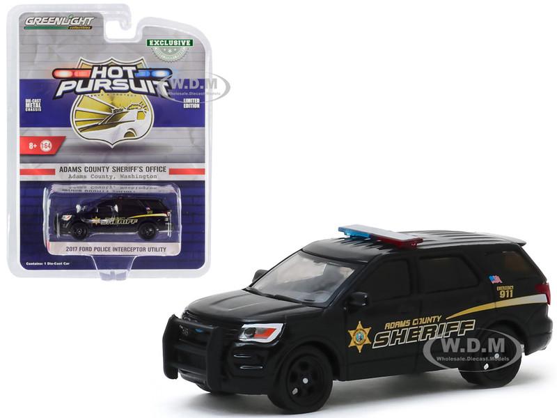 2017 Ford Police Interceptor Utility Black Adams County Sheriff Adams County Washington Hot Pursuit Hobby Exclusive 1/64 Diecast Model Car Greenlight 30142