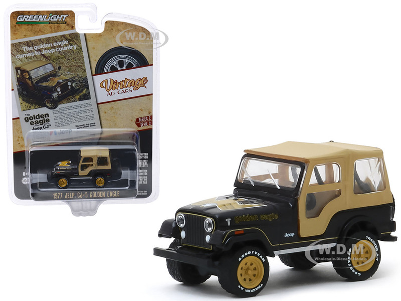 1977 Jeep CJ-5 Golden Eagle Black Tan Top Gold Wheels The Golden Eagle Comes to Jeep Country Vintage Ad Cars Series 2 1/64 Diecast Model Car Greenlight 39030 E