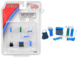 Mechanic Tool Set of 7 pieces Blue for 1/64 Scale Models American Diorama 38405