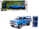 1980 Chevrolet Blazer Blue Metallic Stripes Extra Wheels Just Trucks Series 1/24 Diecast Model Car Jada 31396