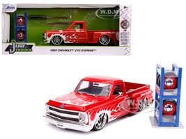 1969 Chevrolet C10 Stepside Pickup Truck Red White Flames Extra Wheels Just Trucks Series 1/24 Diecast Model Car Jada 31397