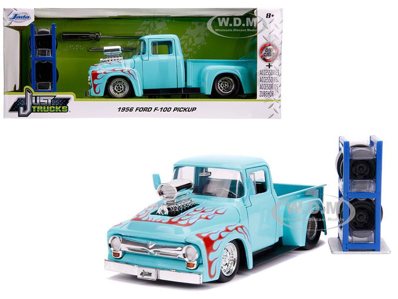 1956 Ford F-100 Pickup Truck Turquoise Red Flames Extra Wheels Just Trucks Series 1/24 Diecast Model Car Jada 31542